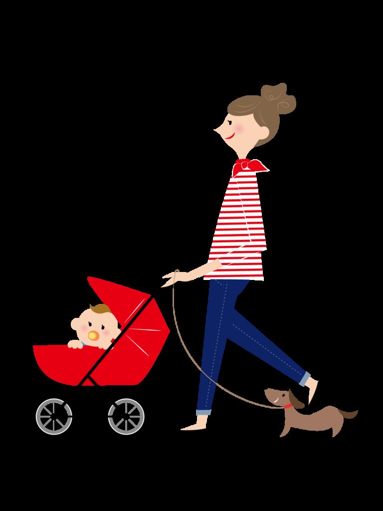 子供を連れている女性のイラスト